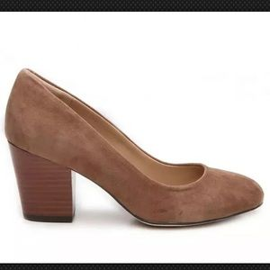 Isola 9M Brown Suede Emalee Block Stacked Pumps